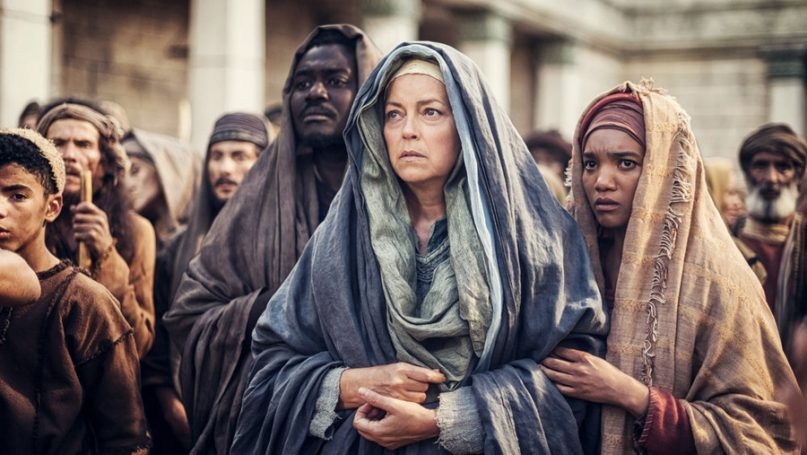 Left to right, Babou Ceesay as John, Greta Scacchi as Mother Mary, Chipo Chung as Mary Magdalene in