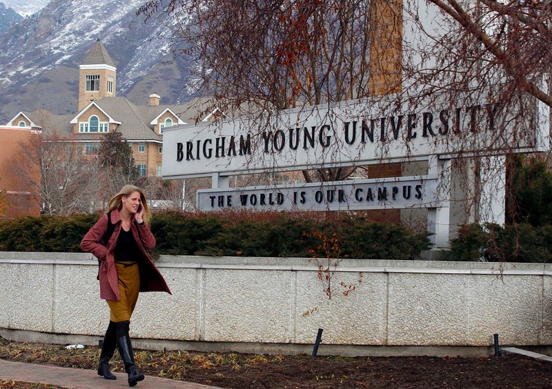 A student walks past the entrance of Brigham Young University (BYU) in Provo on February 16, 2012. Photo courtesy of REUTERS/George Frey *Editors: This photo may only be republished with RNS-BYU-COMPLAINT, originally transmitted on March 18, 2015.