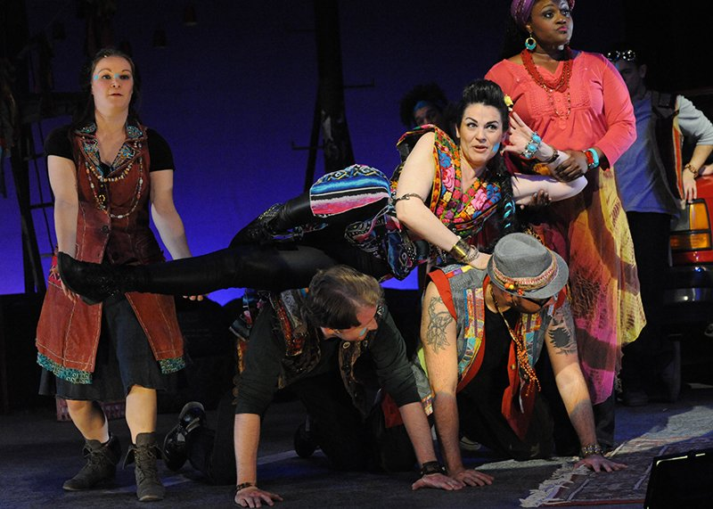 Rachel Zampelli as John/Judas in Olney Theatre Center's production of GODSPELL. Photo courtesy of Stan Barouh