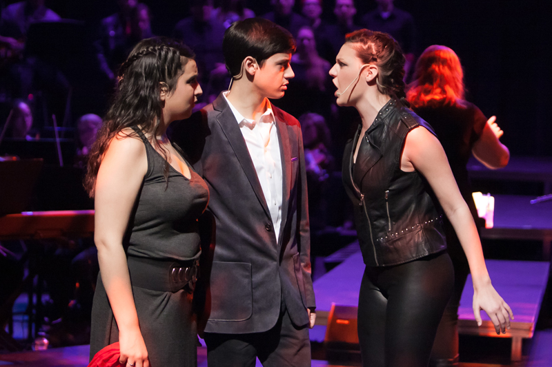 Paris Naster as Judas, far right, with Sicily Mathenia and Tony Carrubba. For use with RNS-FEMALE-JUDAS, transmitted on March 26, 2015, Photo courtesy of Photo by J Robert Schraeder and courtesy of MTKC