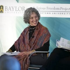 "Ruth Messinger, President of American Jewish World Service, participates in a symposium on ""Proselytism and Development in Pluralistic Societies,"" held by the Berkley Center at Georgetown University on Wednesday (March 4, 2015). Photo courtesy of Rafael Suanes/Georgetown University"