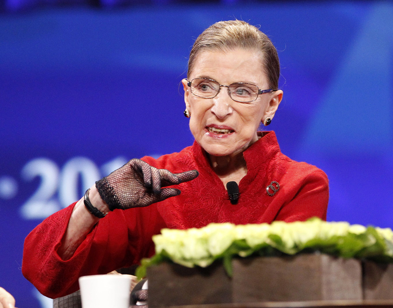 "Associate Justice Ruth Bader Ginsburg speaks during the lunch session of ""The Women's Conference 2010"" in Long Beach, California on October 26, 2010. Photo courtesy of REUTERS/Mario Anzuoni *Editors: This photo may only be republished with RNS-GINSBURG-PASSOVER, originally transmitted on March 18, 2015."
