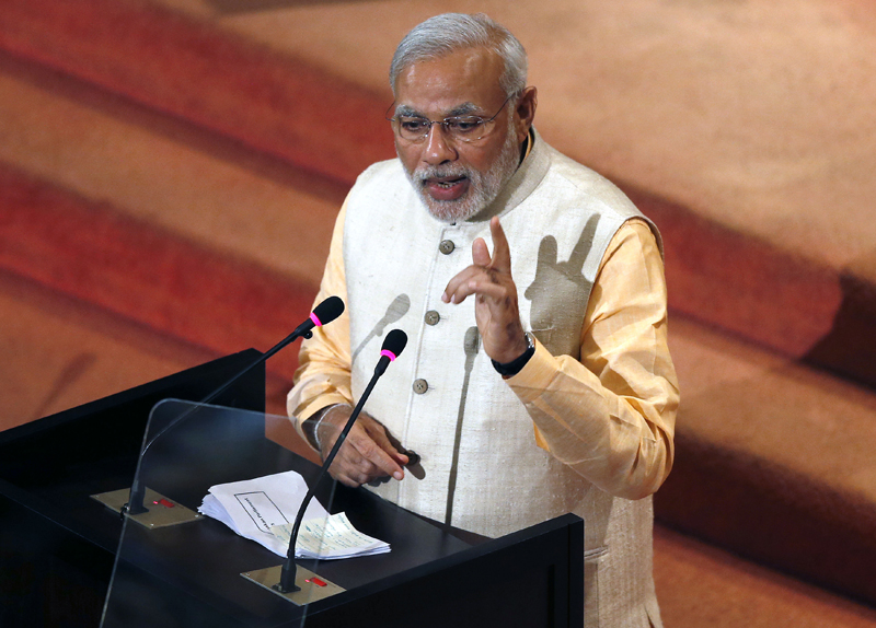 India's Prime Minister Narendra Modi addresses Sri Lanka's parliament in Colombo on March 13, 2015. Photo courtesy of REUTERS/Dinuka Liyanawatte *Editors: This photo may only be republished with RNS-HINDU-NATIONALISM, originally transmitted on March 18, 2015.