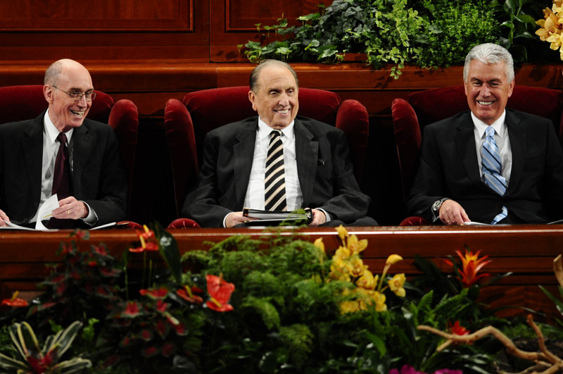 The First Presidency of The Church of Jesus Christ of Latter-day Saints at the October 2011 general conference. From left to right is First Counselor President Henry B. Eyring, President Thomas S. Monson and Second Counselor Dieter F. Uchtdorf. Photo courtesy of the Church of Jesus Christ of Latter-Day Saints