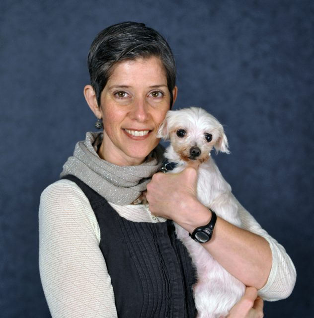 PETA Vice President Daphna Nachminovitch with Soupster, a dog rescued by PETA that will go to a permanent home. Photo courtesy of PETA