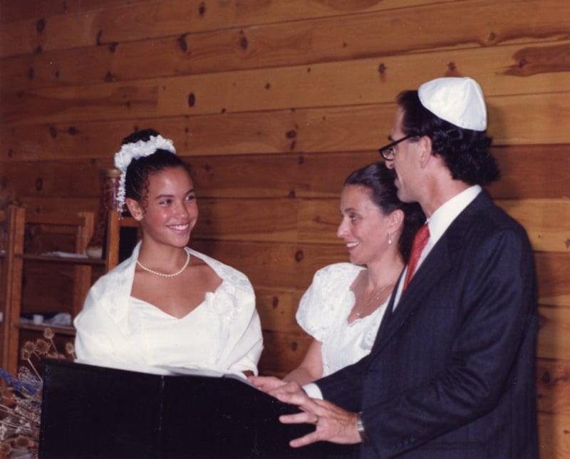 Lacey Schwartz at her Bat Mitzvah with her parents. Photo courtesy of Lacey Schwartz