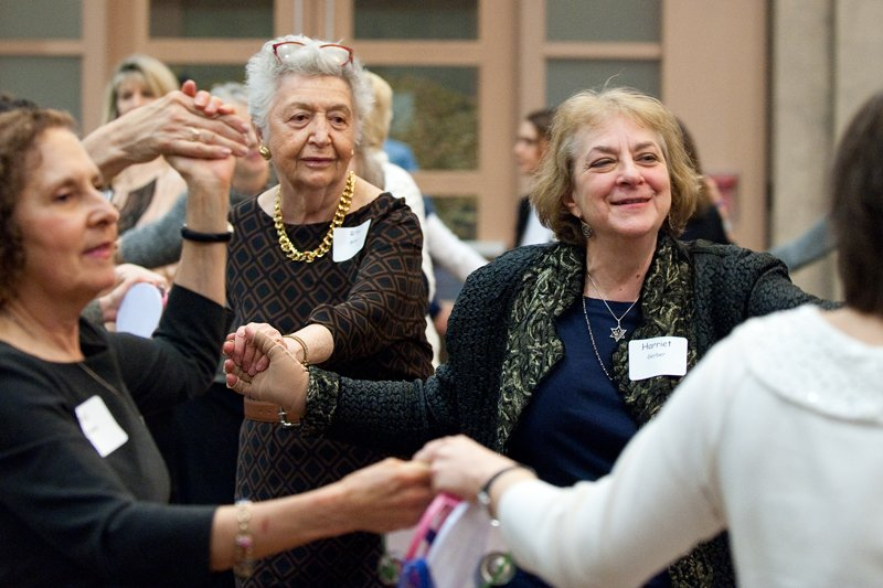 Women dance during the sisterhood/zhava annual women's seder at Congregation Beth El of Montgomery County in Bethesda, Md., on Sunday, March 22, 2015. Religion News Service photo by Sait Serkan Gurbuz