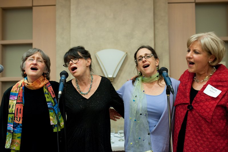 A group of women sing during the annual women's seder at Congregation Beth El of Montgomery County in Bethesda, Md., on Sunday, March 22, 2015. Religion News Service photo by Sait Serkan Gurbuz