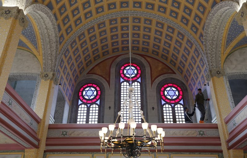 Workers complete the redecoration of a restored synagogue in Turkey, is the first to open in the country in two generations. Photo courtesy of Reuters