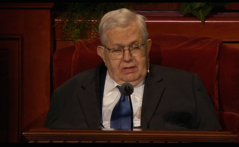 President Boyd K. Packer, seated, addresses the Mormon faithful at the April 2015 LDS General Conference.