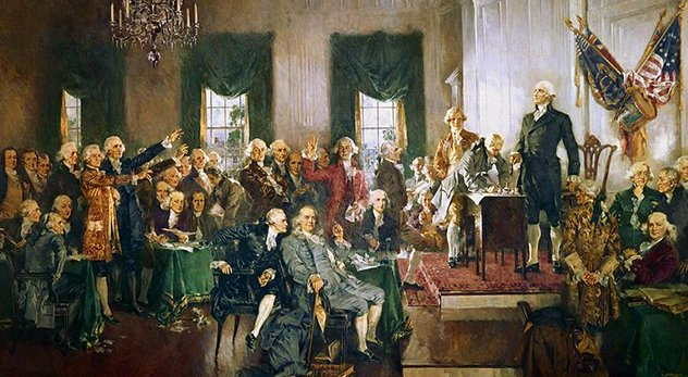 "A Princeton historian says the idea that America is a ""Christian nation"" is a modern invention fueled by corporations, clergy, and politicians. - (Image: ""Scene at the Signing of the Constitution of the United States"" by Howard Christy; Courtesy of Wikimedia Commons - http://bit.ly/1I8pq63)"