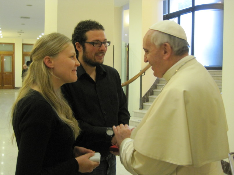 Jared and his wife met the pope while they were in Rome.