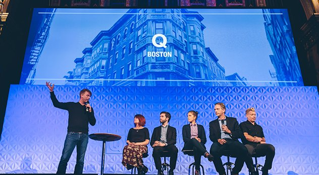 At Q conference in Boston, a panel discusses same-sex issues (from he left: Gabe Lyons, Debra Hirsch, Matthew vines, Julie Rodgers, David Gushee, Dan Kimball). - Image credit: Parker Young Photography
