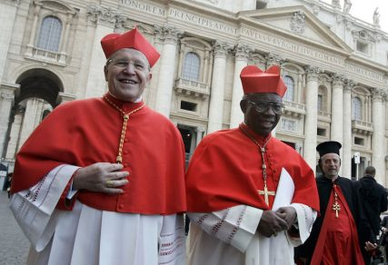 Cardinals Walter Kasper, left, leaves St. Peter's Basilica with Nigerian Cardinal Francis Arinze and Syrian Cardinal Daoud Ignace Maoussa I after viewing the body of the late Pope John Paul II laying in state in 2005. Photo by Tony Gentile/Reuters.