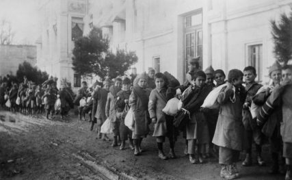 Armenian orphans being forced from a village, 1915.