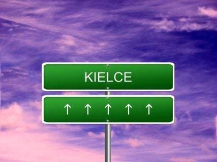 A road sign in Poland points to the city of Kielce, site of an anti-Jewish pogrom in 1946.