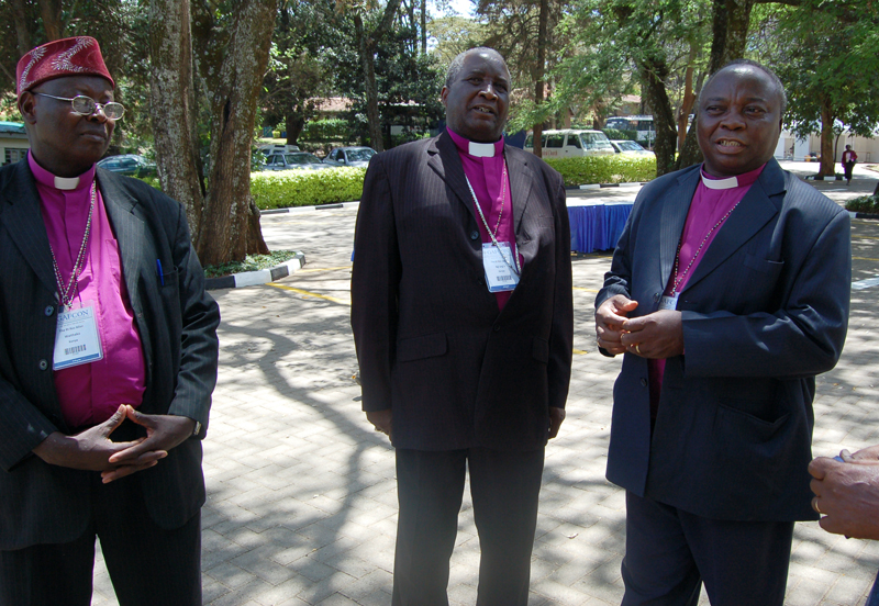 Bishops and members of GAFCON stroll outside of All Saint Cathedral during a recent conference in Kenya.  Religion News Service photo by Fredrick Nzwili