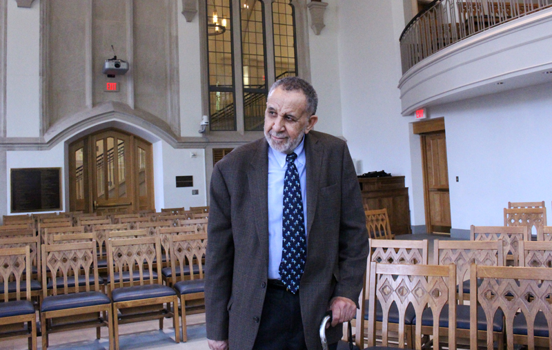 The Rev. Gil Caldwell visits chapel of Duke Divinity School in Durham, N.C., on April 17, 2015. He said he was denied admission to the school in the 1950s. Religion News Service photo by Adelle M. Banks