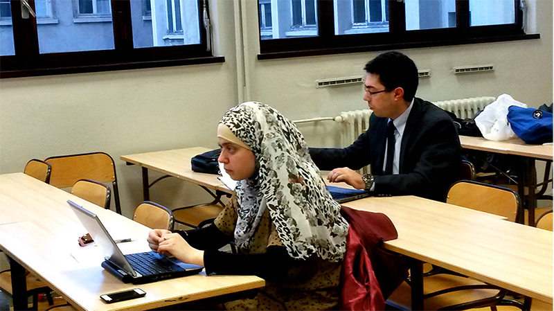 Students attend class at the Catholic University of Lyon, where the Bible dominates an evening lecture in Lyon, France. Photo by Elizabeth Bryant