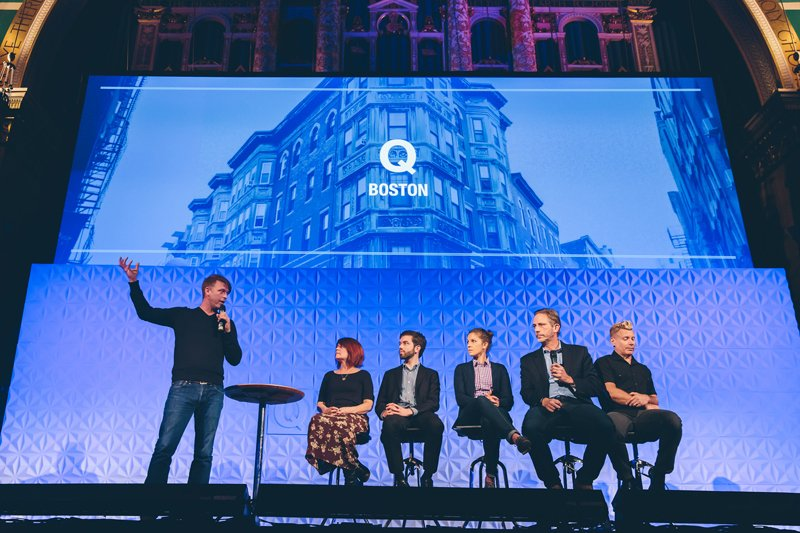 At Q conference in Boston, a panel discusses same-sex issues (from he left: Gabe Lyons, Debra Hirsch, Matthew vines, Julie Rodgers, David Gushee, Dan Kimball). – Image credit: Parker Young Photography