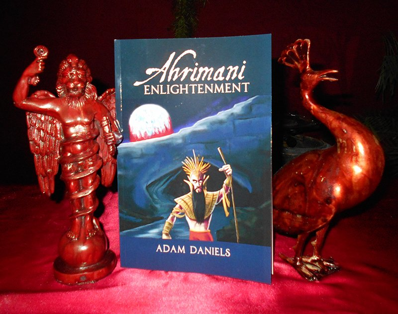 """The Church of Ahriman, a Satanist church in Oklahoma City, has asked permission to distribute Satanist literature at Woodrow Wilson Elementary School. Photographed here is one of the church's books, """"Ahrimani Enlightenment"""" by Adam Daniels, the church's leader. For use with RNS-OKLA-SATAN, transmitted on April 14, 2015, Photo courtesy of Adam Daniels"""