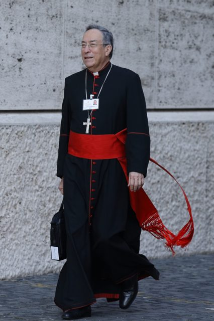 Cardinal Oscar Rodriguez Maradiaga of Tegucigalpa, Honduras, arrives for the morning session of the extraordinary Synod of Bishops on the family at the Vatican in this Oct. 8, 2014, file photo. Photo by Paul Haring, courtesy of Catholic News Service