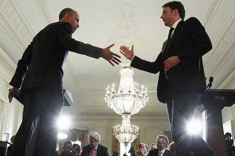 U.S. President Barack Obama greets Italian Prime Minister Matteo Renzi after their joint news conference in the East Room of the White House in Washington on April 17, 2015. Photo courtesy of REUTERS/Jonathan Ernst *Editors: This photo may only be republished with RNS-POWERS-COLUMN, originally transmitted on April 21, 2015.