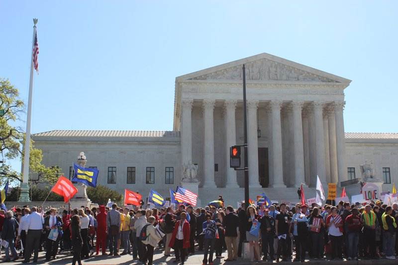 Crowds gathered in front of the Supreme Court on April 28, 2015 as justices heard arguments about same-sex marriage. Religion News Service photo by Adelle M. Banks