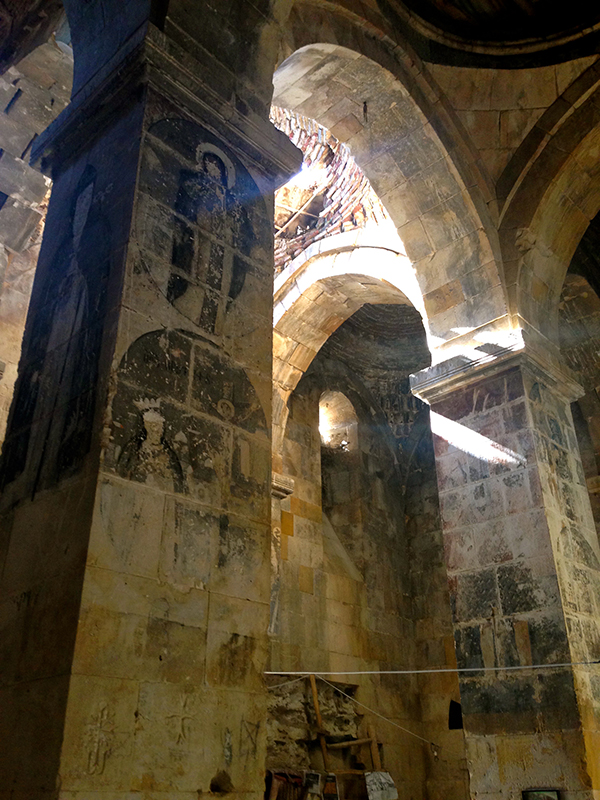 "Faded frescoes inside the once-famous Armenian Christian Varagavank monastery, built in the 11th century. It is located in a Kurdish village and now known as Yedi Kilise, Turkish for ""seven churches,"" because it used to be a enormous monastery complex. Religion News Service photo by Tania Karas"