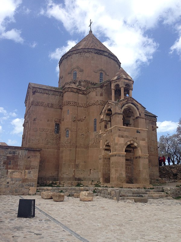 A closer view of the Armenian Church of the Holy Cross on Akdamar Island, Lake Van. It is one of the only Armenian sites the Turkish government has restored and a major attraction for diaspora Armenians who visit Turkey searching for signs of their heritage. Religion News Service photo by Tania Karas