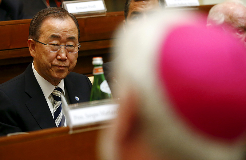 United Nations Secretary-General Ban Ki-moon attends a meeting about climate change and sustainable development at the Vatican on April 28, 2015. Photo courtey of REUTERS/Tony Gentile *Editors: This photo may only be used with RNS-VATICAN-CLIMATE, originally transmitted on April 29, 2015.