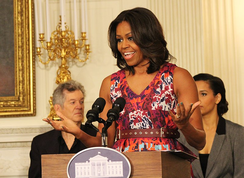 First lady Michelle Obama spoke of her admiration of gospel music as she welcomed students to a workshop at the White House on gospel music on April 14, 2015. Religion News Service photo by Adelle M. Banks