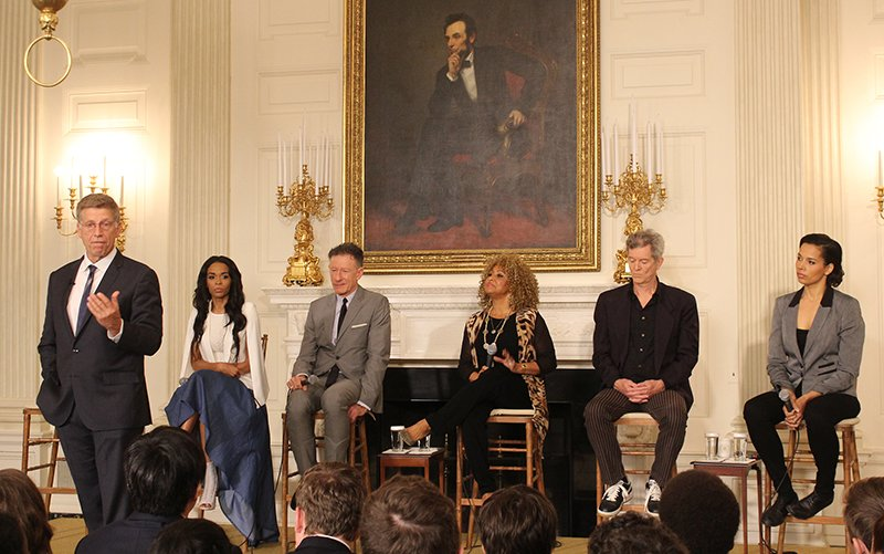 Grammy Museum Executive Director Bob Santelli, introduced a panel of musicians for a discussion of gospel music at the White House on April 14, 2015. The panel included, left to right, Michelle Williams, Lyle Lovett, Darlene Love, Rodney Crowell, and Rhiannon Giddens. Religion News Service photo by Adelle M. Banks