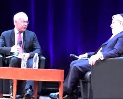 David Brooks in dialogue with Rabbi Jonathan Sacks at the Skirball Center at NYU.