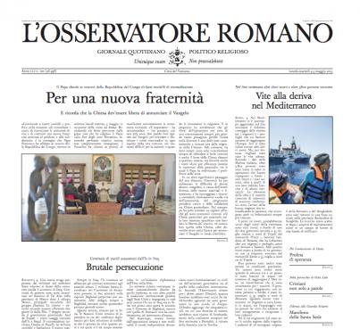 Screenshot of the L'Osservatore Romano. newspaper in Rome.