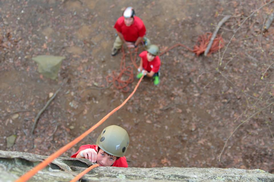 Action shot of Troop GA-0412 rock climbing at Rocktown Pigeon Mountains. Photo courtesy of Troop GA-0412