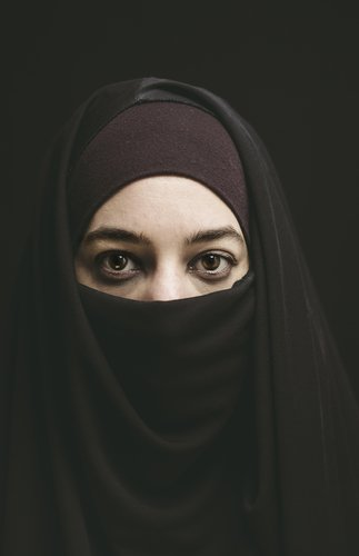Woman wearing a burqa.