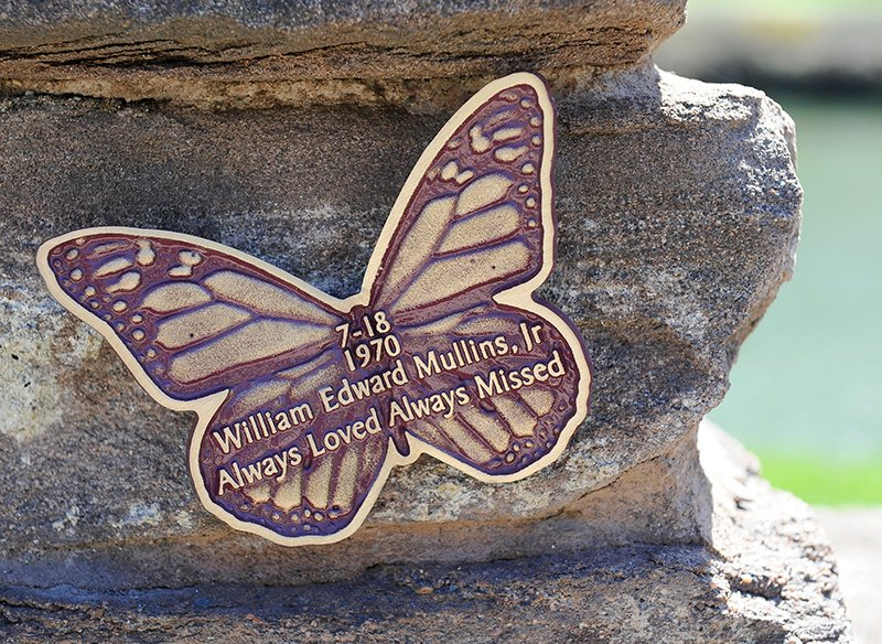 Detail photograph of a butterfly memorial plaque in the remembrance garden for mothers and family who lost their children before birth at the Most Holy Redeemer cemetery in Niskayuna, N.Y., Tuesday, April 28, 2015. Photo courtesy of Hans Pennink / Special to Religion News Service