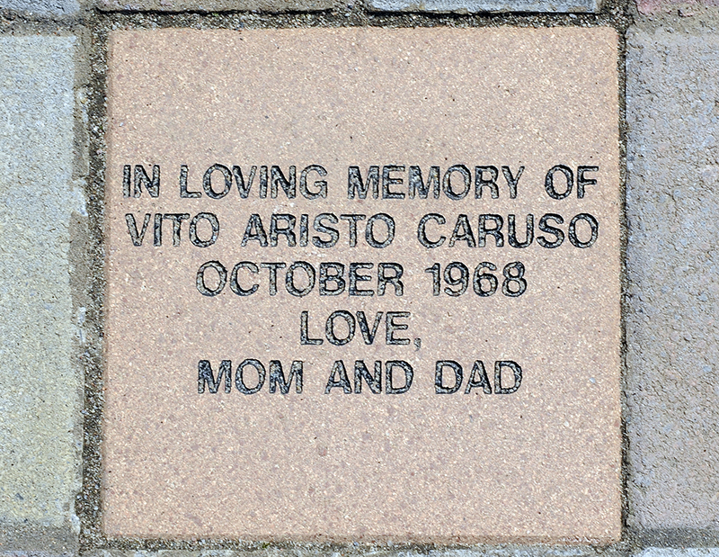 Dorothy Caruso of Schenectady, N.Y., had a paver block made in the memory of her son Vito Aristo Caruso installed at the rememberance garden for mothers who lost their children before birth at the Most Holy Redeemer cemetery in Niskayuna, N.Y., on Tuesday, April 28, 2015. Photo courtesy of Hans Pennink /Special to Religion News Service