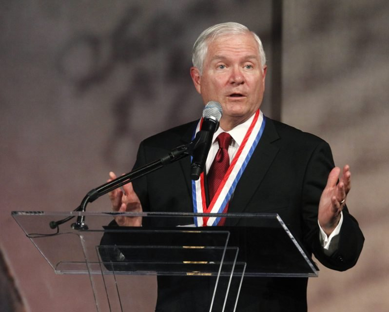 Former U.S. Defense Secretary Robert Gates speaks after being awarded the Liberty Medal at the National Constitution Center in Philadelphia, Pennsylvania, on September 22, 2011. Photo courtesy of REUTERS/Tim Shaffer  *Editors: This photo may only be republished with RNS-BOY-SCOUTS, originally transmitted on May 29, 2015.