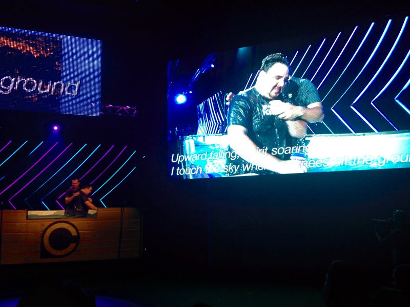 Adults are baptized while the congregation sings at nondenominational CrossPoint megachurch in Nashville on Sunday, May 17, 2015. Religion News Service photo by Heidi Hall
