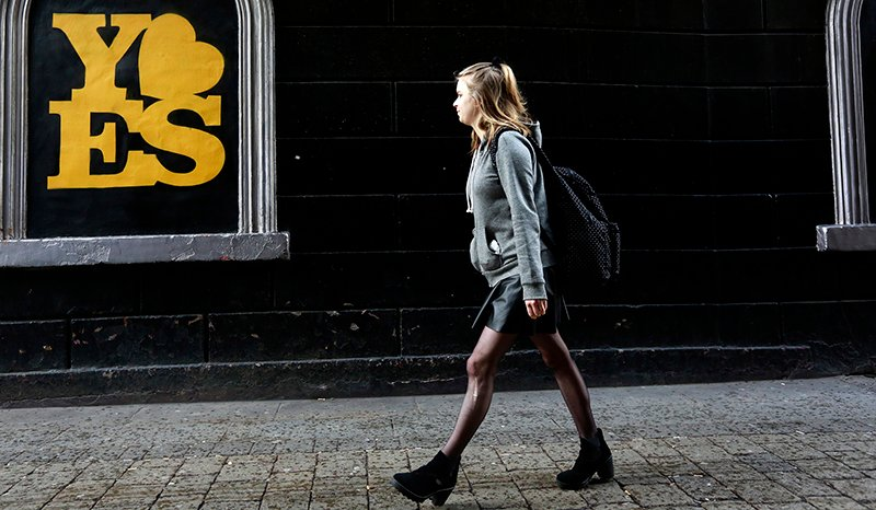 A poster supporting the Yes vote is displayed in the Dame street area of Dublin in Ireland on May 19, 2015. Photo courtesy of REUTERS/Cathal McNaughton *Editors: This photo may only be republished with RNS-IRELAND-AMENDMENT, originally transmitted on May 20, 2015.