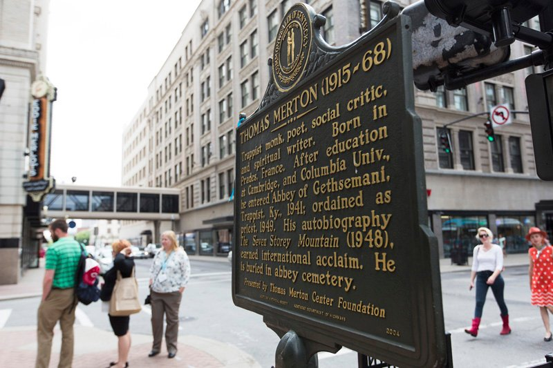 A historical marker, marking Merton's conversion experience, stands at the corner of 4th Street and Muhammad Ali Blvd. in Louisville, KY. Religion News Service photo by Philip Scott Andrews