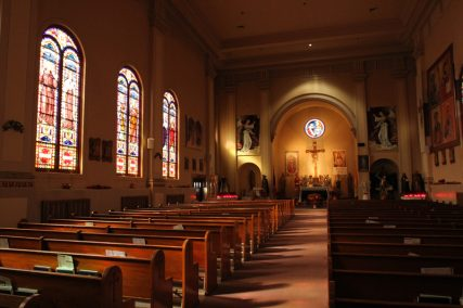 The interior of St. Roch Church in the Staten Island borough of New York is seen between Sunday morning Masses on Nov. 2, 2014. The NY Archdiocese announced last fall that, as part of a massive consolidation and closing process involving dozens of churches, masses and sacraments will no longer available on a weekly basis at St. Roch Church. RNS photo by Gregory A. Shemitz
