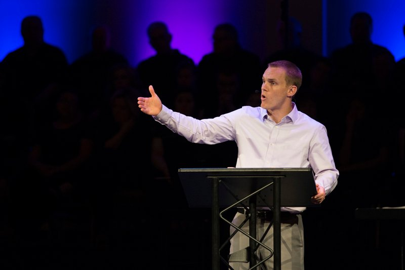 "IMB President David Platt challenges the congregation at Highview Baptist Church in Louisville, Kentucky to go to unreached people living in hard places because we have an ""incomprehensibly glorious God."" Photo courtesy of IMB"