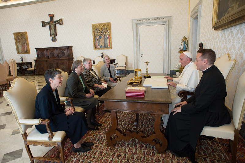 Pope Francis meets with representatives of the U.S. Leadership Conference of Women Religious in his library in the Apostolic Palace at the Vatican on April 16, 2015. The same day the Vatican announced the conclusion of a seven-year process of investigation and dialogue with the group to ensure fidelity to church teachings. The outcome resulted in revised statues approved by the Vatican. Photo courtesy of CNS photo/L'Osservatore Romano