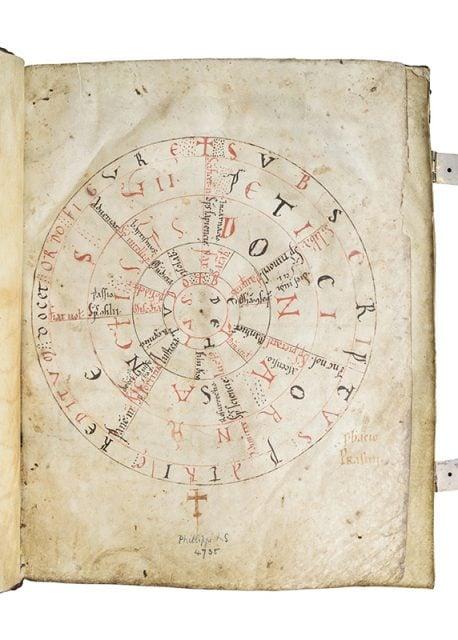 The Liesborn Gospel original Prayer Wheel in Latin. Photo courtesy of Les Enluminures Ltd.