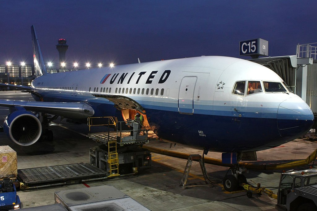 A United Airlines plane gets loaded in Chicago.