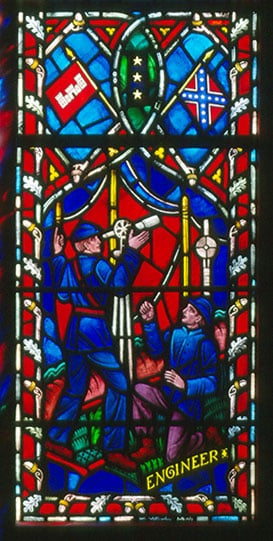 A stained-glass window honoring Robert E. Lee installed at the Washington National Cathedral. Photo courtesy of Washington National Cathedral