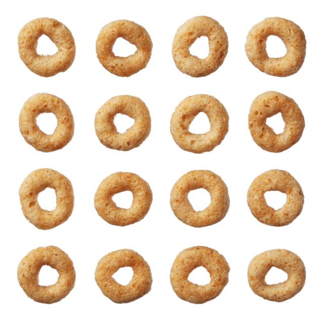 Cheerios against a white background.